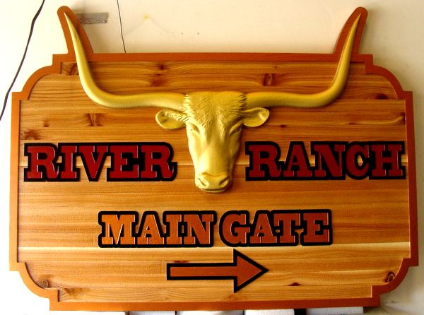 O24124 -  Carved Wooden Cattle Ranch Directional Sign, with 3-D Longhorn Steer Head