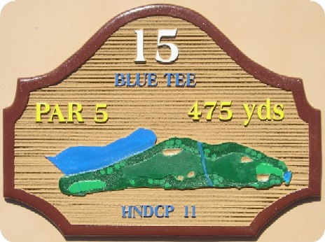 E14420 - Sandblasted Wood Golf Course Tee Sign Showing the Hole Layout and the Distance From the Tee to the Green