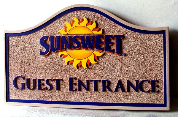 "T29056 - Carved  and Sandblasted  Sign for the ""Sunsweet""  Inn,. featuring a  Bright and Happy Sun"
