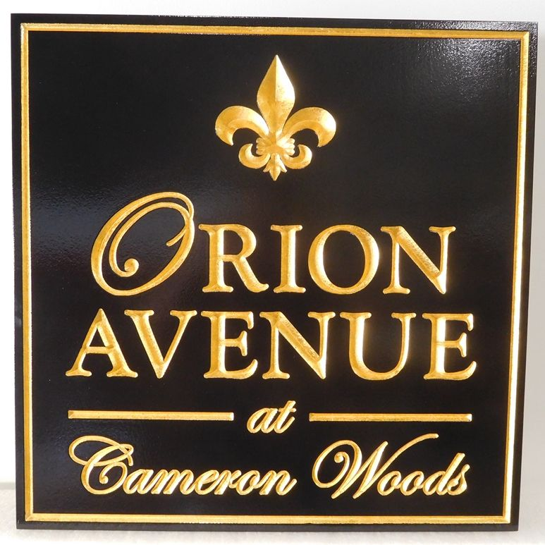 K20078 - Elegant and Formal 3D Sign  with Gold Leaf Fleur-de-Lis and Text, for Orion Avenue Apartments