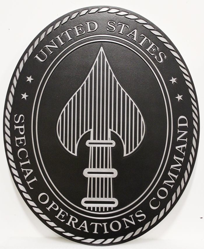 MP-1272 - Carved Plaque of the Crest/Insignia  of the  US Army's Special Operations Command, 2,5-D  Artist Painted