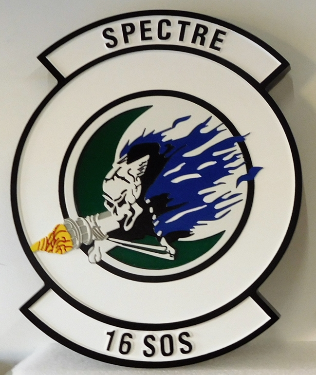 "LP-3680 - Carved Round Plaque of the Crest of the 16th Special Operations Squadron ""Spectre"", Artist Painted"