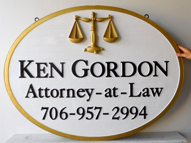 A10226 - Carved Cedar Wood  Attorney-at-Law Sign with 3-D Scales of Justice