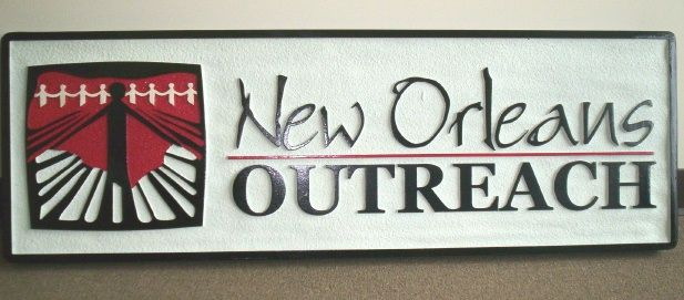 """SA28616 - Carved and Sandblasted Sign for """"New Orleans Outreach"""" Community  Center"""