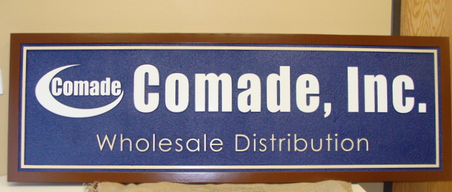 """SA28517 - Carved Sign for """"Comade, Inc""""  Wholesale Distribution Business, Stylized Logo"""