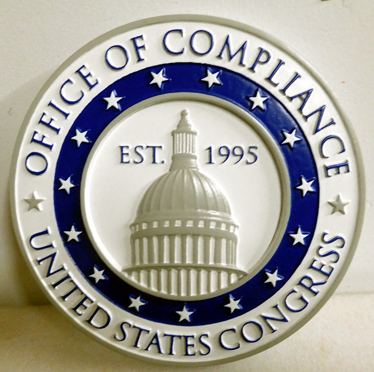 U30116- Carved 3-D Hand-Painted Plaque for Office of Compliance, US Congress