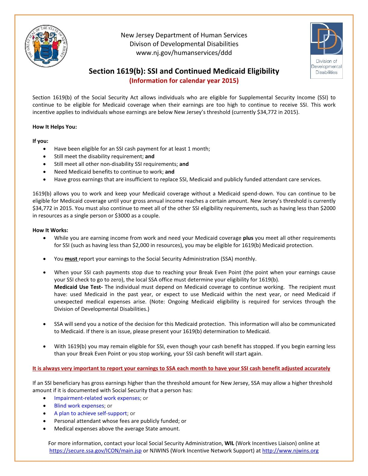 SSI and Continued Medicaid Eligibility While Working (Section 1619b Flyer)