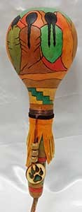 Chickie's Gourd Art-Small Rattle with Maidens-Bear Claw