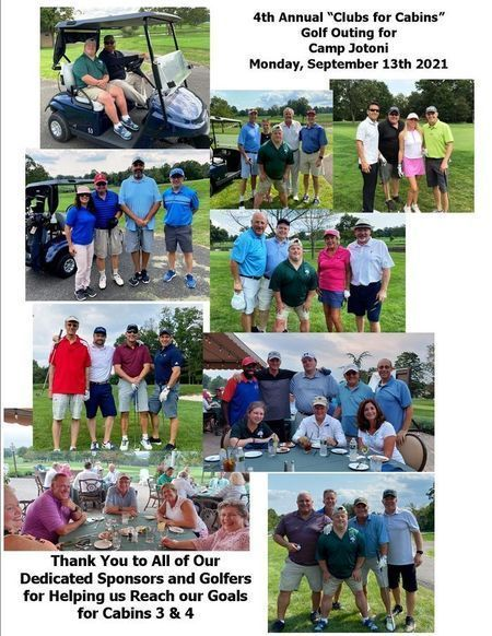 """Thanks to Everyone Who Supported the 4th Annual """"Clubs for Cabins"""" Golf Outing for Camp Jotoni"""