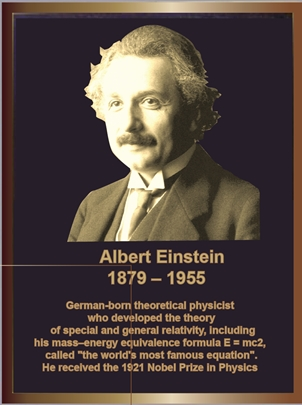 ZP-2040 -  Carved Memorial Photo Plaque  for Albert Einstein,  Painted  Light and Dark Bronze