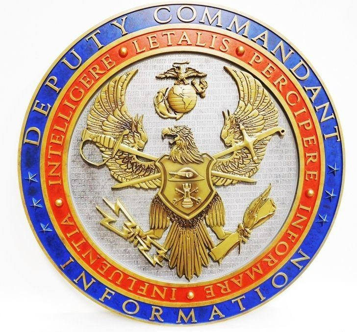 V31413 - Carved  3-D  Plaque of the Seal of the Deputy Commandant for Information of  the US Marine Corps, with 3-D Emblems as Artwork