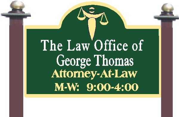 A10150 - Carved  Wood Lawyer Sign