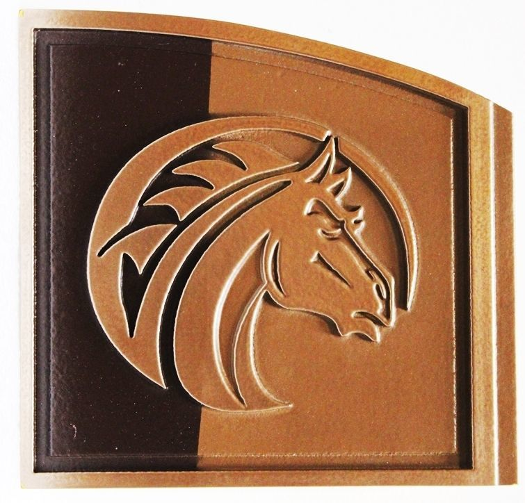 P25125 -  Carved Wall Plaque with a Profile View of aHorse's Head, Bronze-plated and Polished