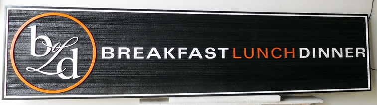 Q25054 - Carved Sign for Restaurant Serving Breakfast, Lunch and Dinner. (For Similar Restaurant Sign See Item Number Q25053 Above.)