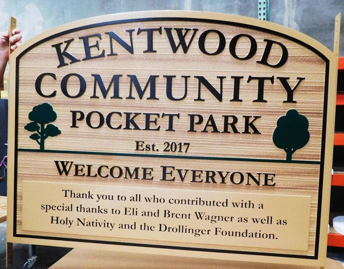 GA16458 - Large Carved and Sandblasted Wood Grain HDU Sign  for the Kentwood Community Pocket Park, with Trees as Artwork