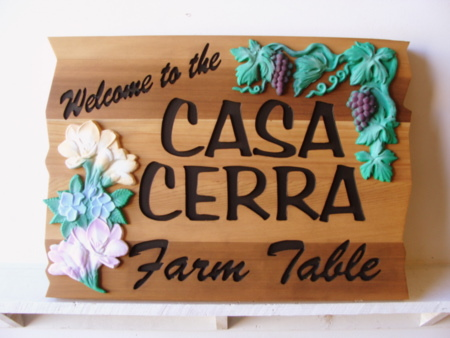 R27349 - Engraved Cedar Wood Sign with 3D Carved Grape Cluster and Flowers