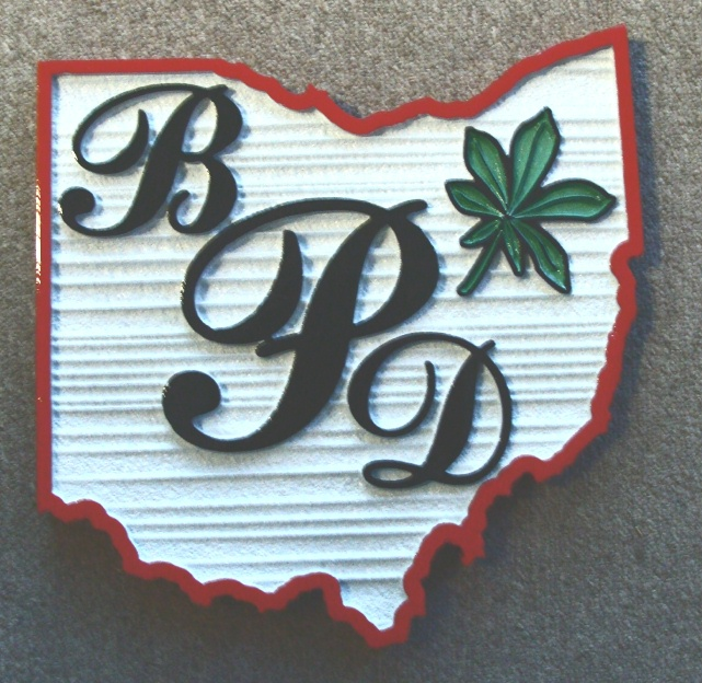 W32405 - Carved and Sandblasted Wall Plaque on the Shape of the State of Ohio