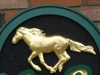 P25702 - Galloping Horse for Equine Sign, 3D Bas-Relief Carved and 24K Gold-Leaf Gilded