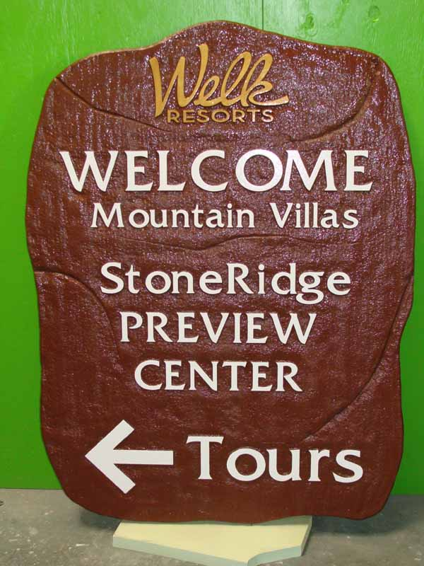 KA20595 - Carved, Sandblasted Stone Look Welcomd  Sign for Welk Resorts Preview Center, Directional Sign for Tours