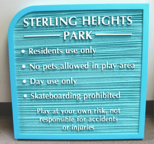 GA16565 - Carved High Density Urethane Sign for Day Use Park for Residents Only