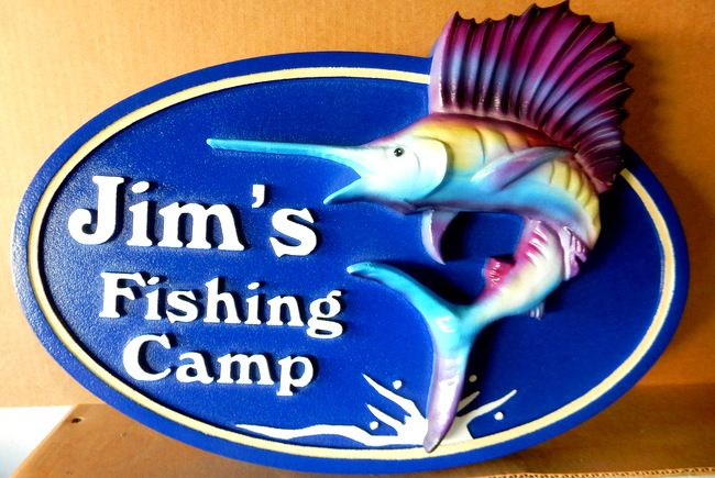 L21358 -  Sign for Fish Camp with 3-D Sailfish