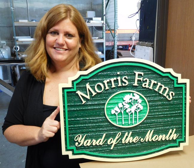 "KA20921 - Carved and Sandblasted HDU Yard-of-Month Sign, for ""Morris Farms"" HOA"