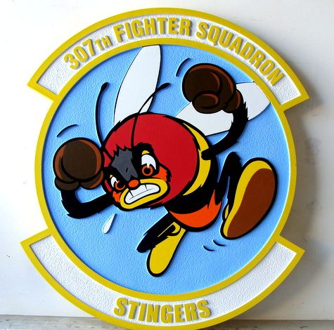"""LP-2300 - Carved Round Plaque of the Crest of the 307th Fighter Squadron """"Stingers"""",  Artist Painted"""
