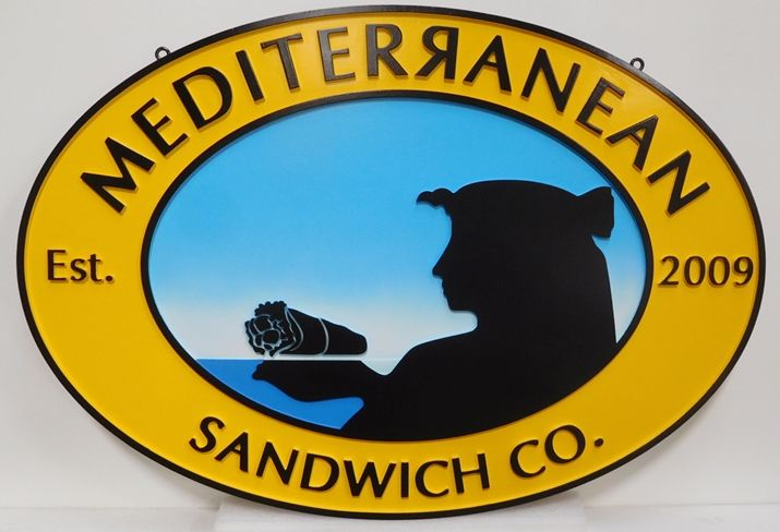 Q25555 - Carved  HDU Sign for the Mediterranean Sandwich Company, 2.5-D Artist-Painted