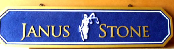 A10343 –Sandblasted Lawyer Office Sign, with Lady Justice