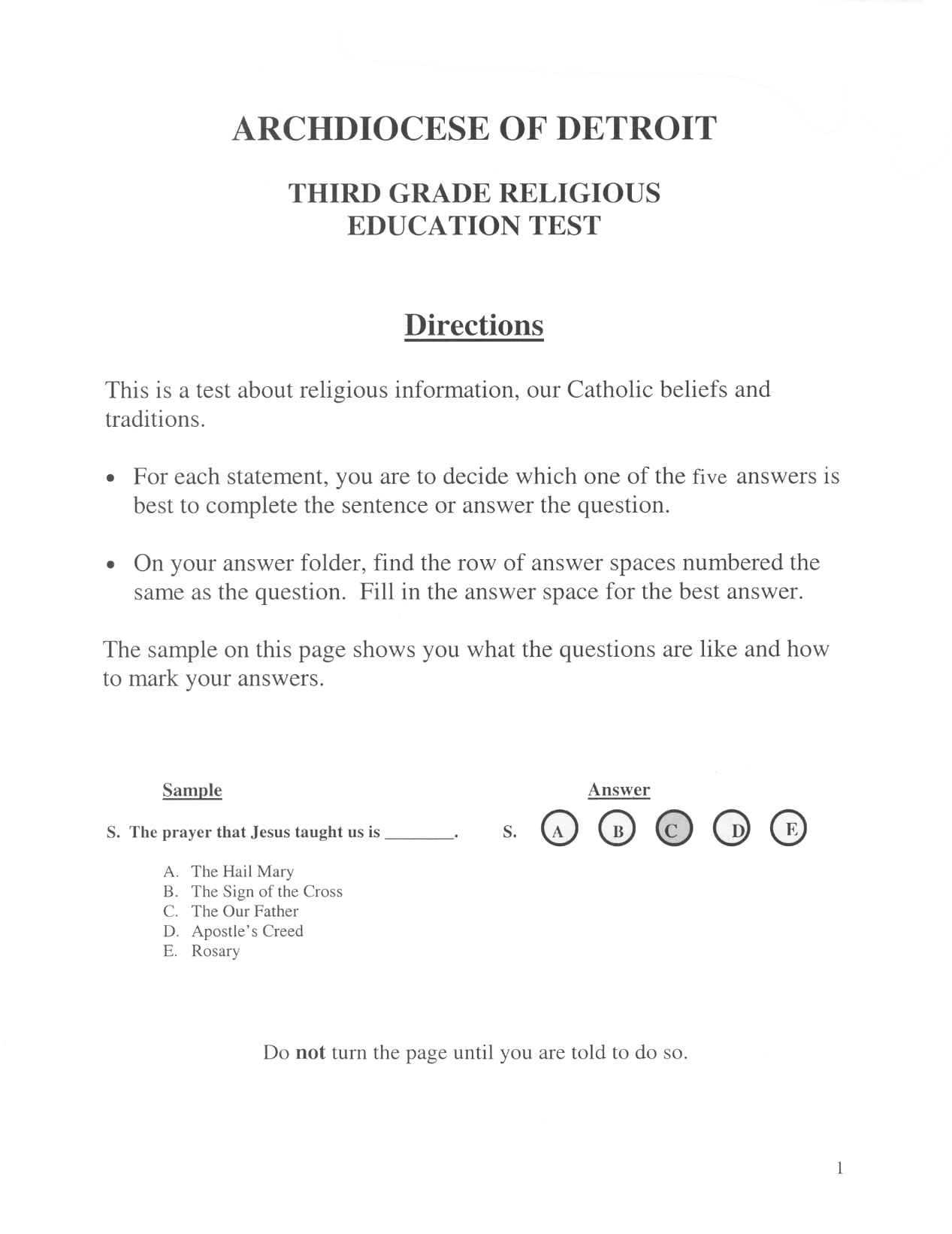 Religious Education Test - 3rd Grade