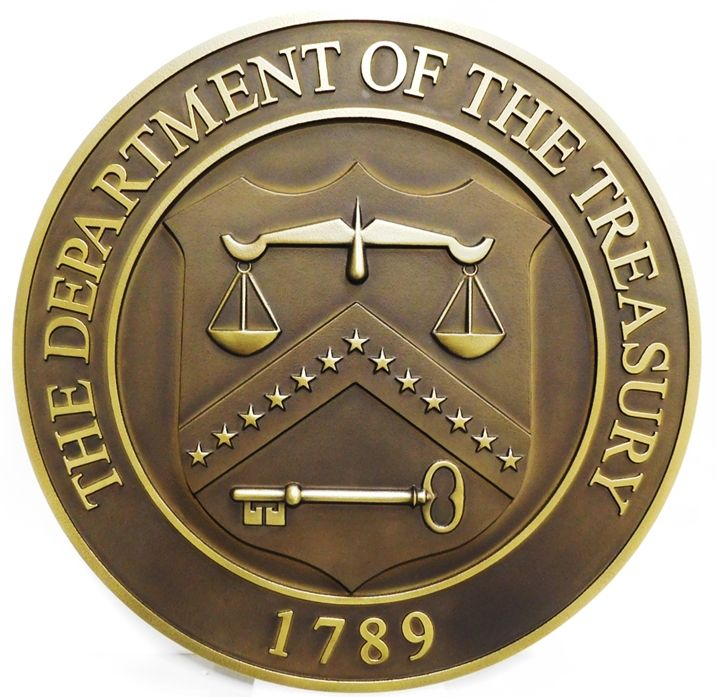 AP-4644 - Carved Plaque of the Seal of the Department of the Treasury , 3-D Brass-Plated