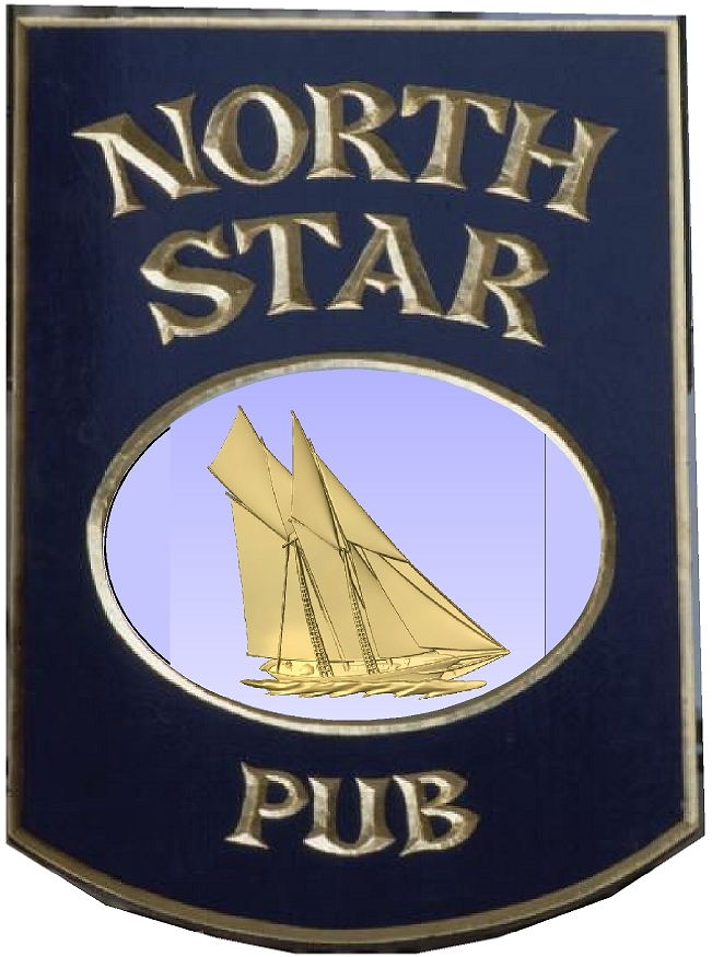 """Y27657 -Carved Wood English """"North Star"""" Pub Sign, swith Schooner Sailboat as Artwork"""