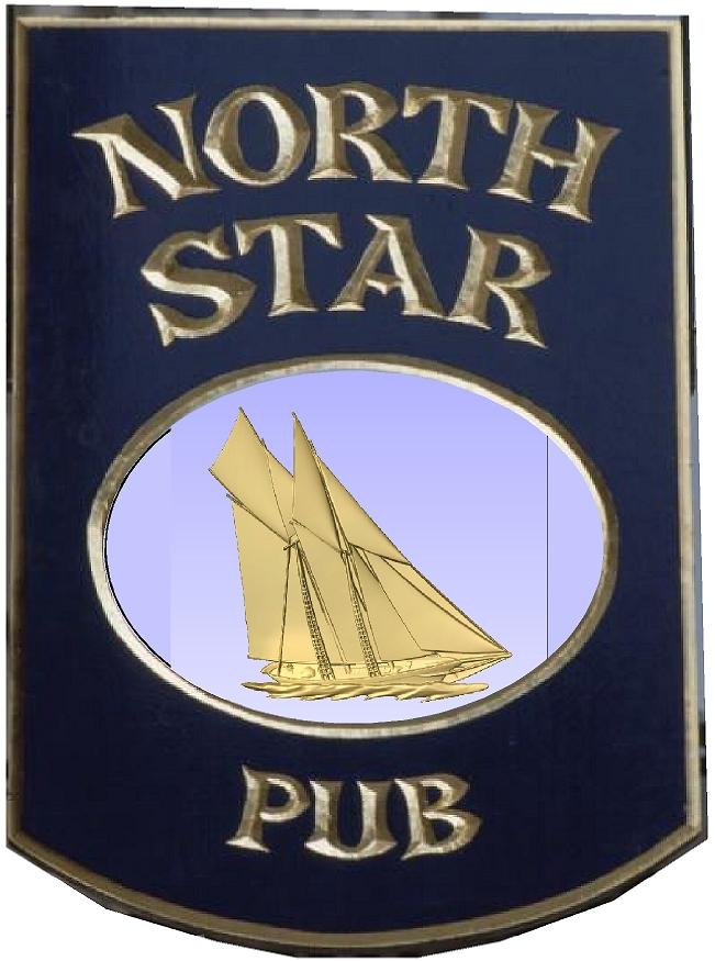 Y27657 - Golden Schooner  Sailboat English Carved Wood Pub Sign