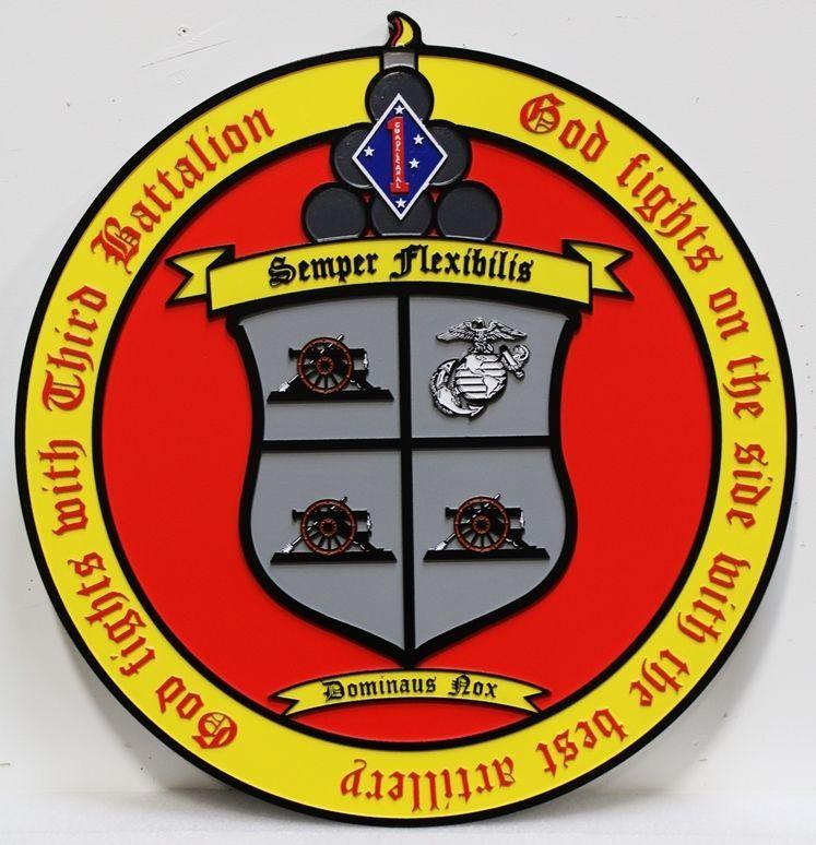 KP-2047- Carved 2.5-D HDU Crest of the 1st Battalion(artillery) , 11th Regiment, 1st Marine Division