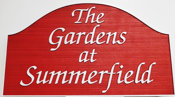 GA16416- Carved and Sandblasted Wood Grain Sign for Gardens of Summerfield Park, 2.5-D Artist-Painted