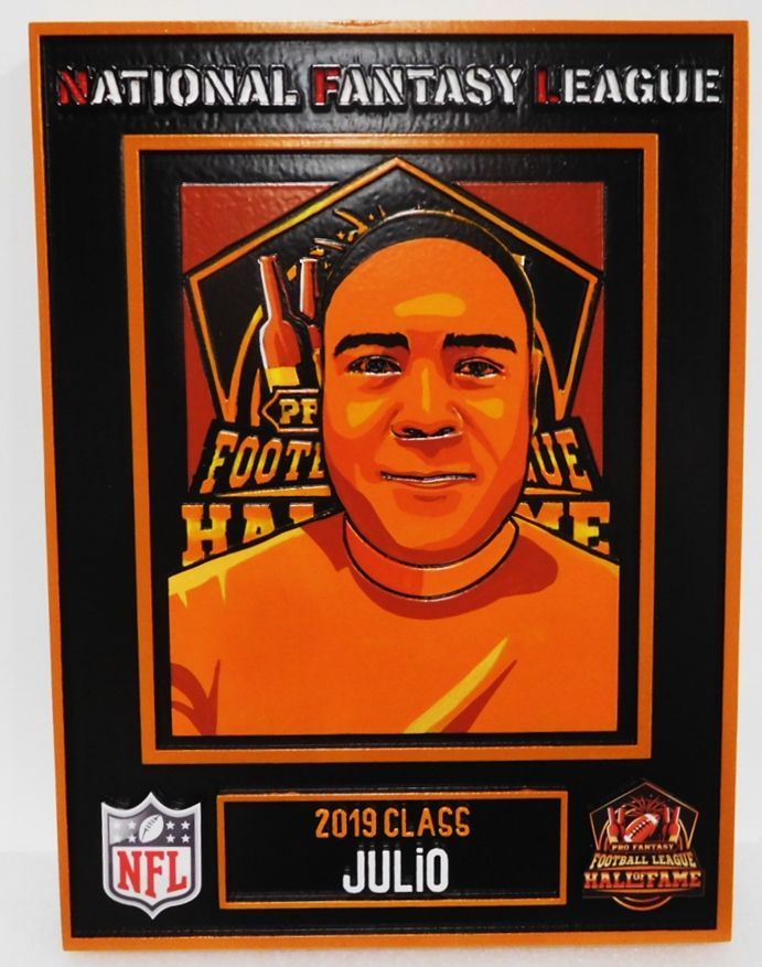 UP-3290- Carved Plaque for National Fantasy Football League Player Julio