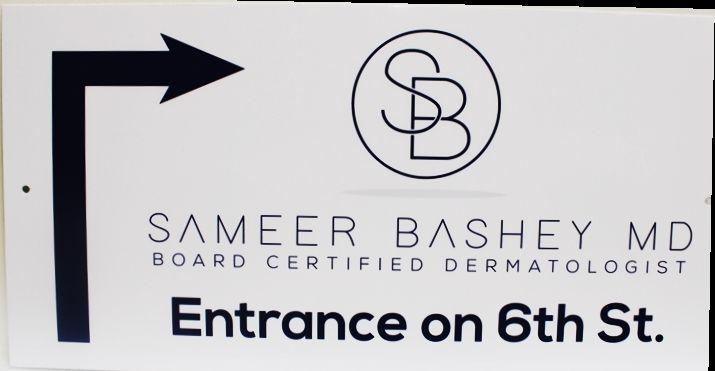 """B11102 - Engraved Entrance Directional Sign for """"Sameer Basey MD"""""""
