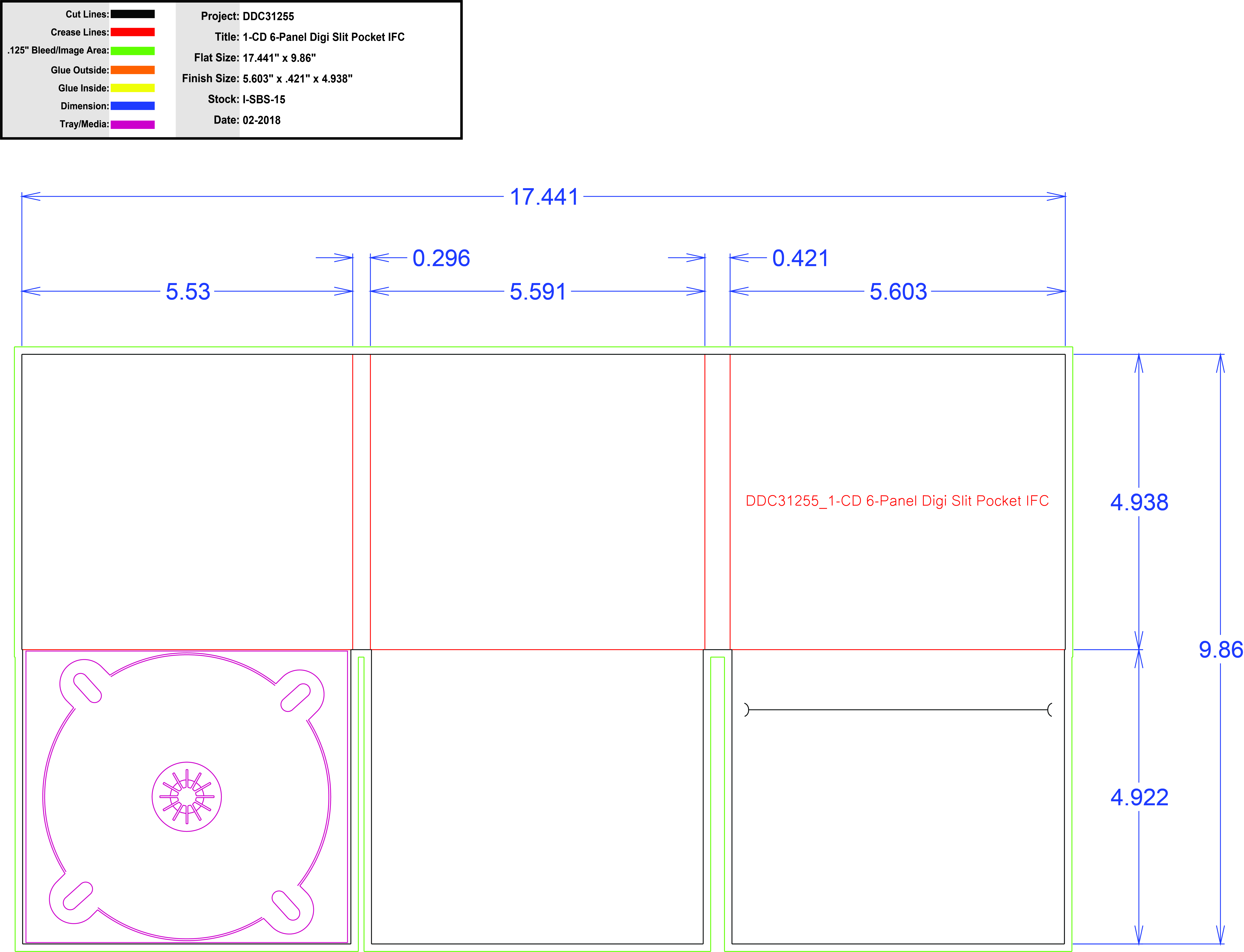 DDC31255 - 6 Panel 1 Tray, Slit Pkt (M)
