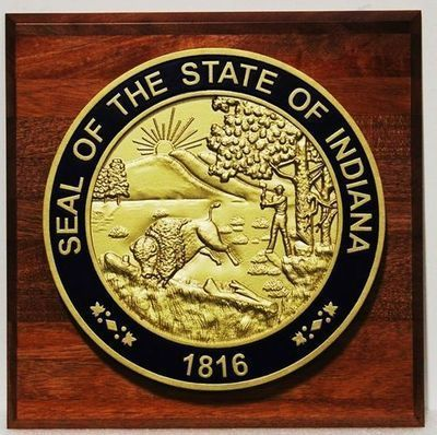 BP-1216 - Carved 3-D Plaque of the Seal of the State of Indiana Mounted on Mahogany Board