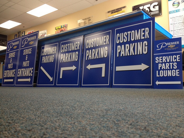 Auto dealership parking and directional signs Orange County