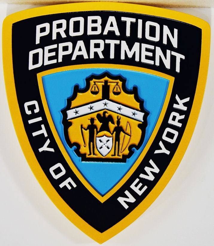PP-2055 - Carved Plaque of the Shoulder Patch of the Probation Department of the City of New York , 2.5-D Artist-Painted