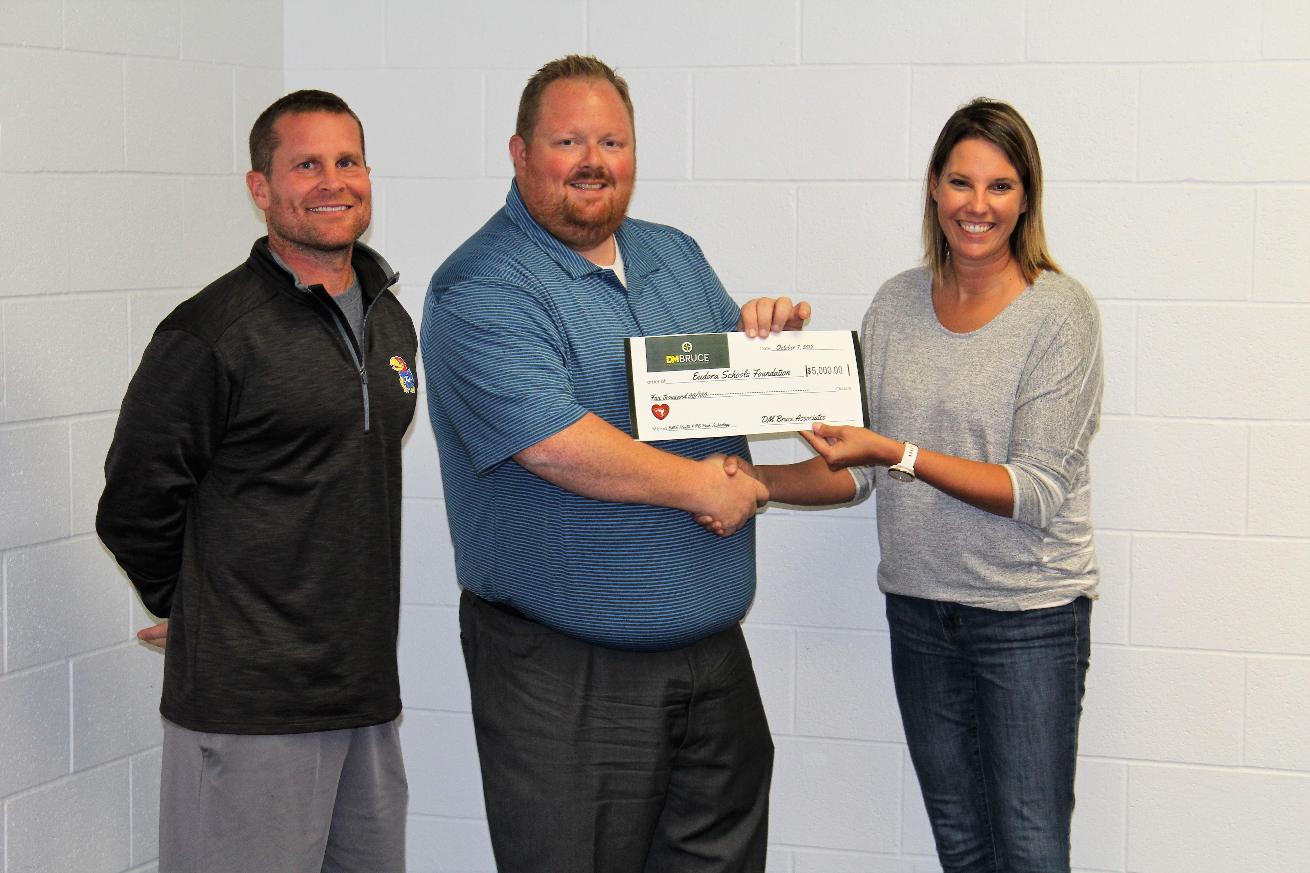 DM Bruce Associates Makes $5000 Donation to Eudora Schools Foundation for Velocity Training Technology at Eudora Middle School