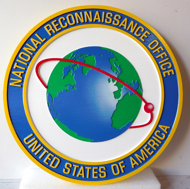 IP-1560-  Carved Plaque of the Seal of the National Reconnaissance Office (NRO), Artist Painted