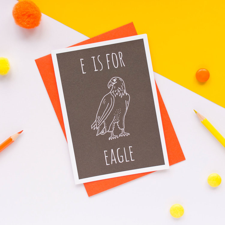 E is for Eagle Greeting Card with Envelope by Darwin Designs