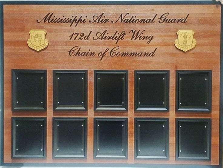 SA1080 -- Chain-of-Command  Board  for the Mississippi Air National Guard's 172nd Airlift Wing , Carved from California Redwood