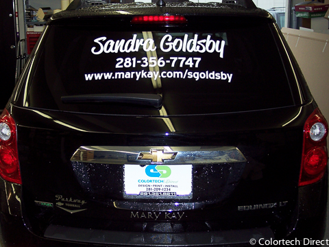 Rear window vinyl lettering