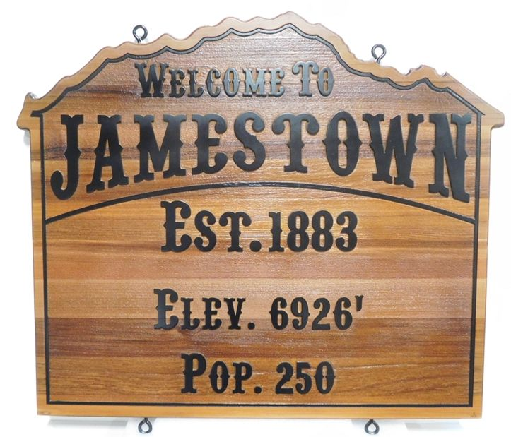 F15160 - Carved Western Red Cedar Sign for  Entrance  Sign for Jamestown, California,2.5-D Engraved