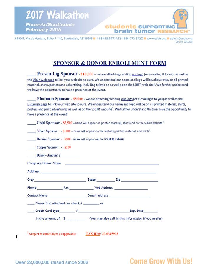 2017 Sponsorship Enrollment Form