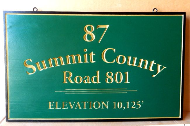 H17062 - Engraved HDU Road Name Sign, Summit County Road 801, with Text and Border Gilded with 24K Gold Leaf