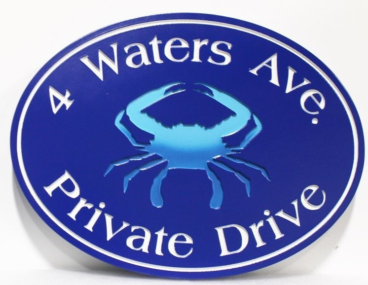 """l21571 - Engraved Address and Private Drive Sign """"4 Waters Ave"""", with a Blue Crab as Artwork"""
